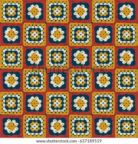 Granny Square Seamless Pattern Crochet Pattern Stock Vector