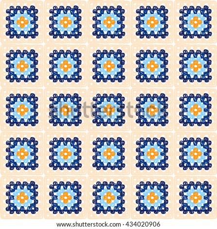 Granny Squares Pattern Ripples Afghan Crochet Stock Vector 434020906 ...
