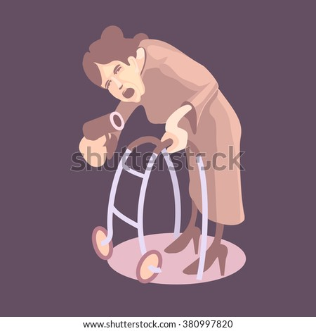 Granny with gun. Vector illustration - stock vector