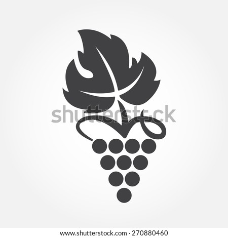 Grape icon or symbol. Design element for winemaking, viticulture, wine house. Vector illustration of bunch of grapes in flat style.  - stock vector