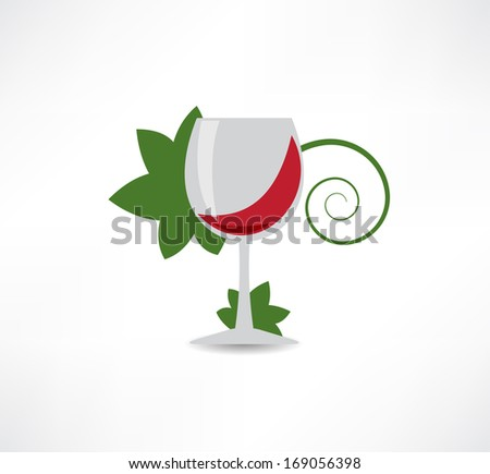 grape leaves and wine icon - stock vector