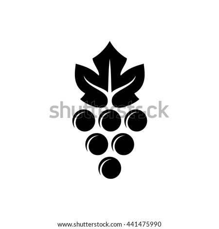 Grape logo. Violet grape berry with green leaf symbol. Wine sign. Black version. - stock vector