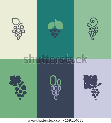 Grape with leaf. Vector elements for design