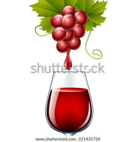 Grape with wine drop in glass - stock vector