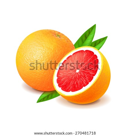 Grapefruit and slice isolated on white photo-realistic vector illustration - stock vector