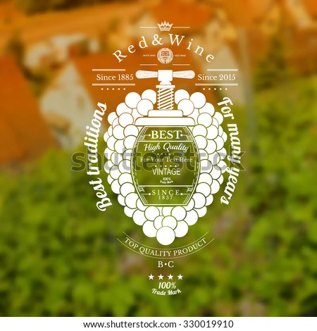 Grapes bunch with barrel for text in the center and vintage press up. Wine label on vineyards and house blurred background - stock vector