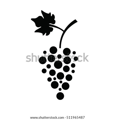 Grapes icon in a flat design on white background. Vector illustration. With leaf