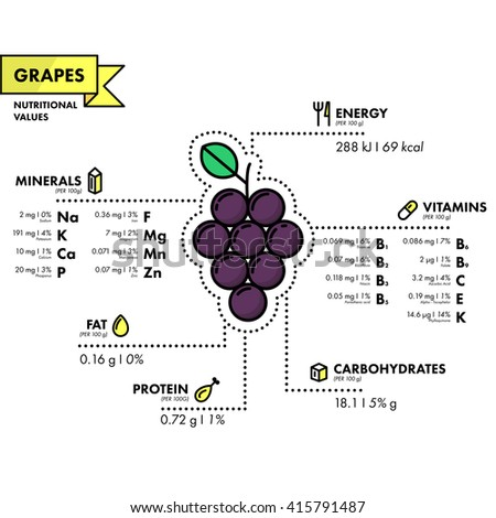 Grapes - nutritional information. Healthy diet. Simple flat infographics with data on the quantities of vitamins, minerals, energy and more.