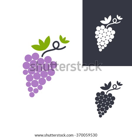 Grapes symbols. Vector isolated signs - stock vector