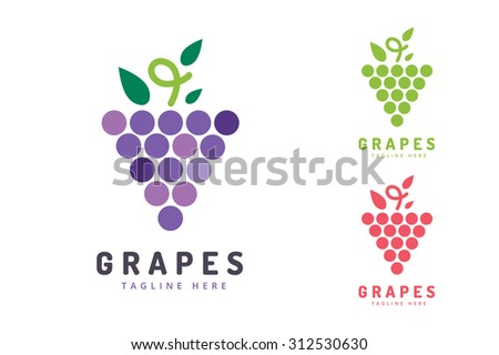 Grapes vector isolated. Grapes icon. Grapes logo. Grapes wine or grapes vine. Grapes with green leaf isolated. Nature grapes logotype. Wine or vine logo icon. Fruits and vegetables. Grapes icons - stock vector