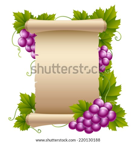 Grapes with old parchment paper