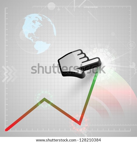 Graph and a vector cursor hand. - stock vector
