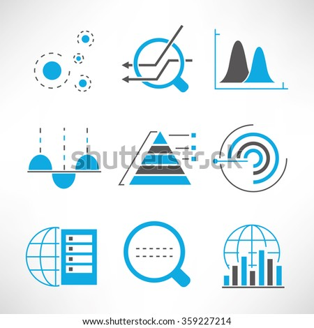 graph and chart icons, data analytics and network icons set - stock vector