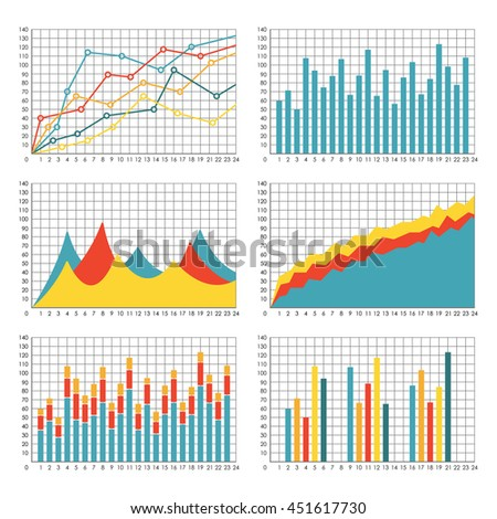 Graph Chart Template Set Graphics Statistic Stock Vector