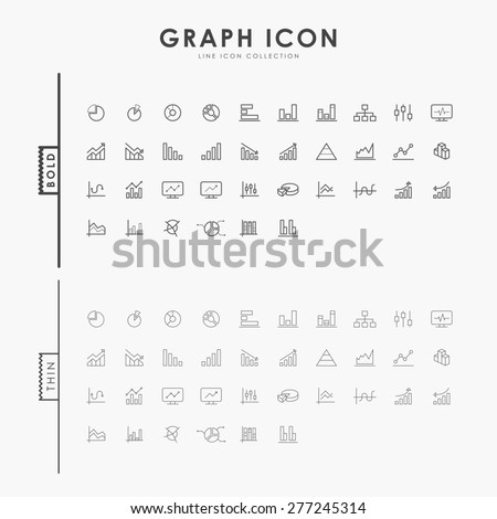 graph and diagram on bold and thin line icons concept - stock vector