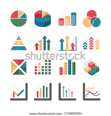 Graph chart Business and financial Icons set. Vector illustration. - stock vector