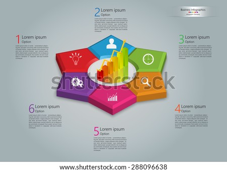 Graph/Chart Icon on Colorful Kite 3D, 6 Steps, Flower Design, Business Icon, Number and Text Informations, Business Infographics Template. Vector Illustration. - stock vector