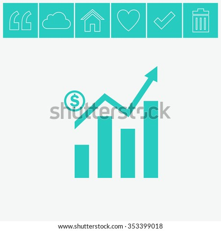 Graph chart sign icon. Infographic. - stock vector