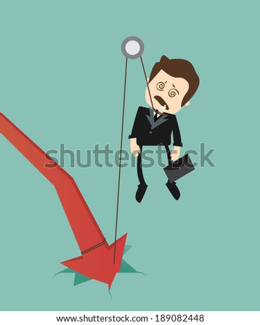 graph down , hanged businessman
