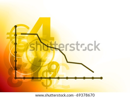 graph down on the red background - stock vector