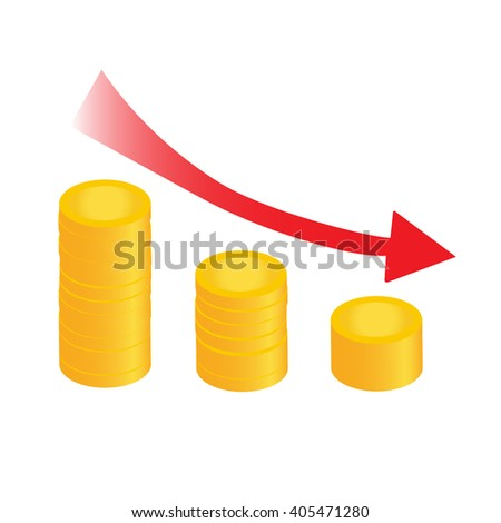 graph down red flat with coins chart vector illustration - stock vector