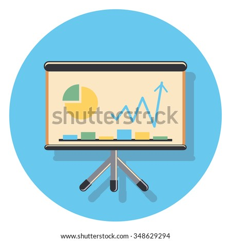 graph flat icon in circle - stock vector