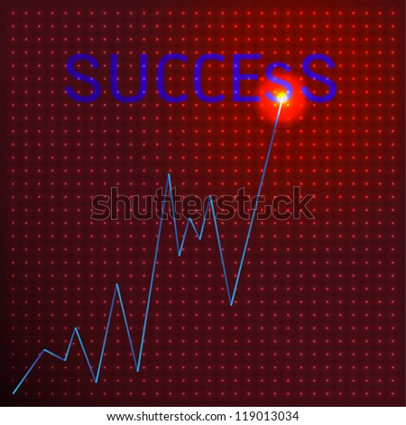 Graph growth business concept on visual screen vector background