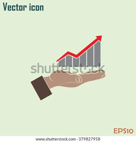 graph hand icon - stock vector