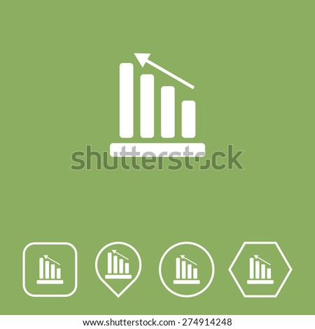 Graph Icon on Flat UI Colors with Different Shapes. Eps-10. - stock vector