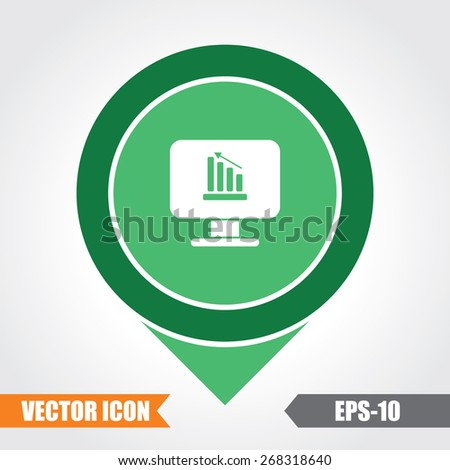 Graph Icon On Map Pointer. Eps.-10. - stock vector