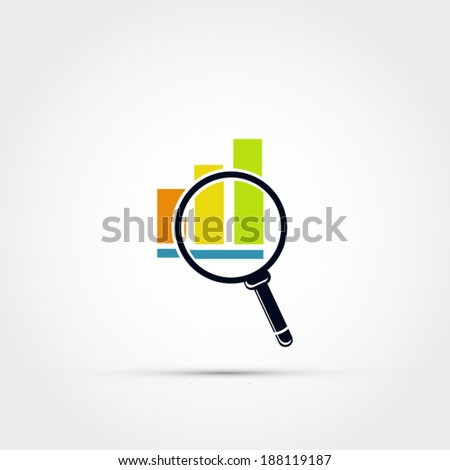 Graph icon with magnifying glass