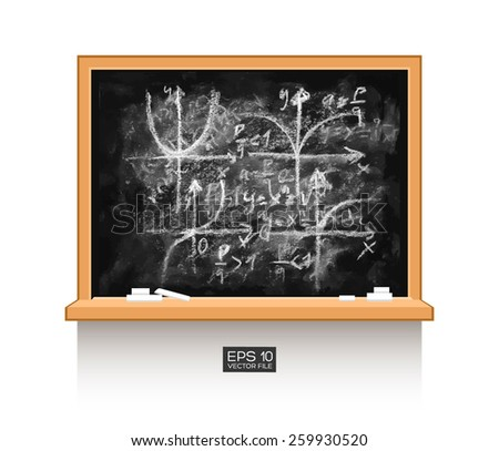 Graph of a function, curves, diagrams. Math lecture. Chalkboard isolated texture background with mathematical formula numbers figure. Hand drawn vector illustration. Wood, wooden frame. Piece of chalk - stock vector