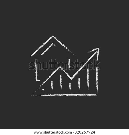 Graph of real estate prices growth hand drawn in chalk on a blackboard vector white icon isolated on a black background. - stock vector