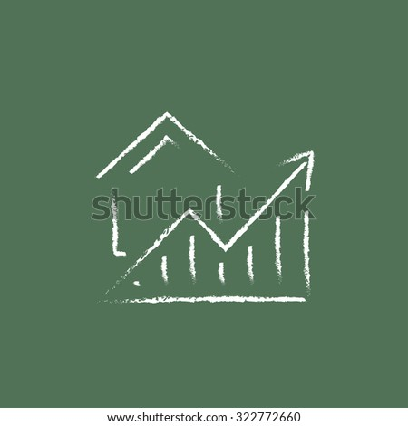 Graph of real estate prices growth hand drawn in chalk on a blackboard vector white icon isolated on a green background. - stock vector