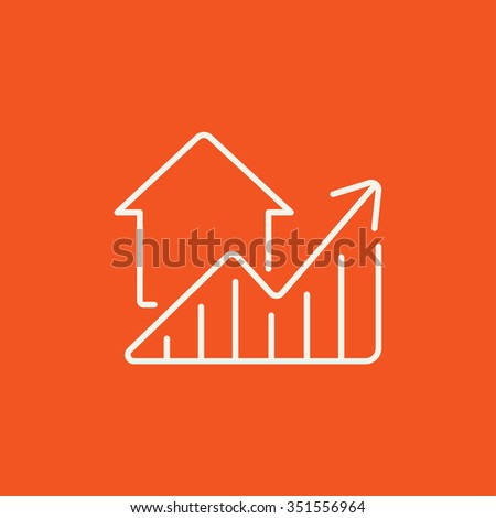 Graph of real estate prices growth line icon for web, mobile and infographics. Vector white icon isolated on red background. - stock vector