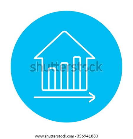 Graph of real estate prices growth line icon for web, mobile and infographics. Vector white icon on the light blue circle isolated on white background. - stock vector