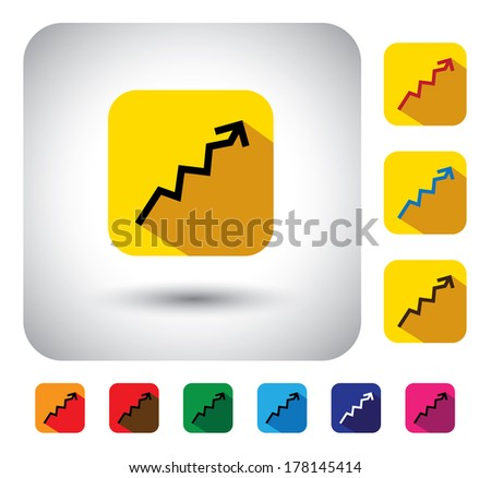 graph or report sign on button - flat design vector icon. This long shadows graphic symbol also represents financial performance, earnings growth, revenue & profits, stock market, corporate business  - stock vector