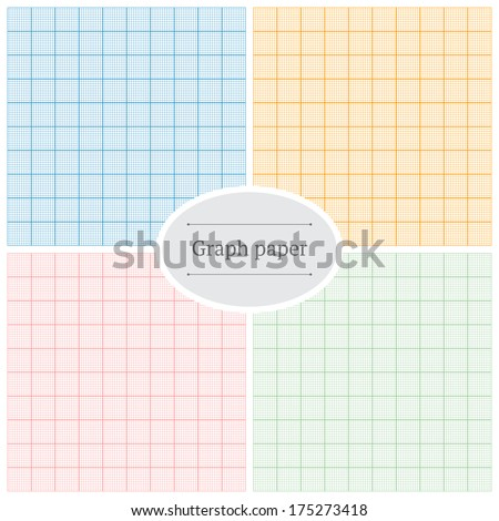 Graph paper. Set of four colorful backgrounds. - stock vector