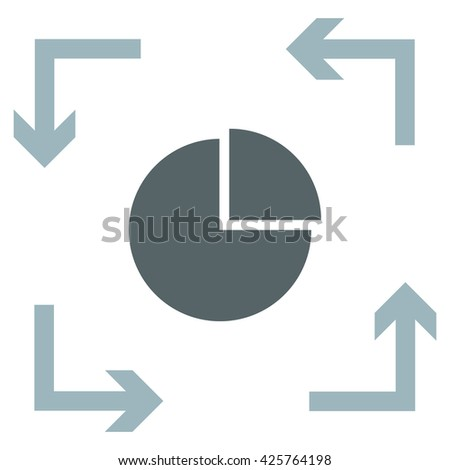 Graph Pie with one part vector icon - stock vector