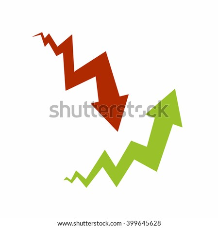 Graph - red and green arrows. Vector illustration