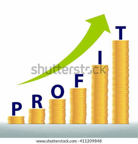 Graph revenue growth and profits. Gold coins stacked pile. Stock vector illustration. - stock vector