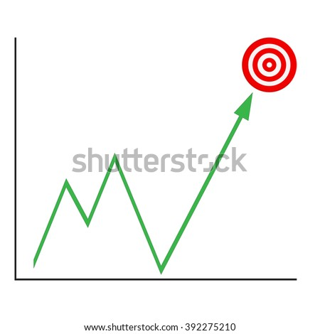 graph up green arrow with target vector illustration - stock vector