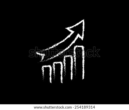 Graph with arrow. Sketch style. Concept of business growth, success or other - stock vector
