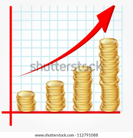 graph with coins - stock vector