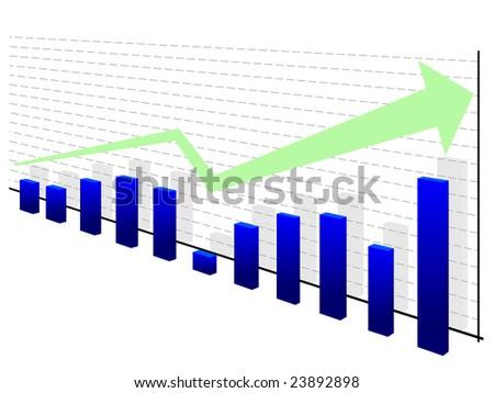Graph with green arrow - stock vector
