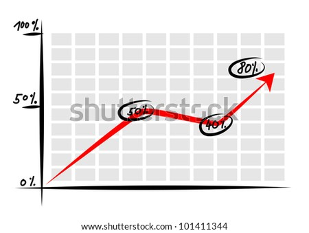 Graph with red arrow - stock vector