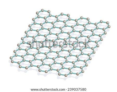 Graphene is an atomic-scale honeycomb lattice made of carbon atoms. - stock vector