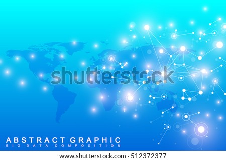Graphic abstract background communication. Big data complex. Perspective backdrop of depth. Minimal array with compounds lines and dots. Digital data visualization. Big data vector illustration