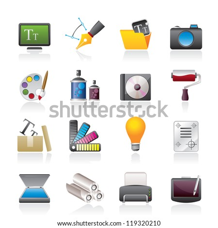 Graphic and website design icons - vector icon set - stock vector