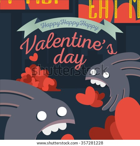 Graphic art on a Valentine's Day theme. Hearts, monsters, advert in a dark colors composition. Another side of holidays perception. Vector illustration for use in web design, print or other area. - stock vector